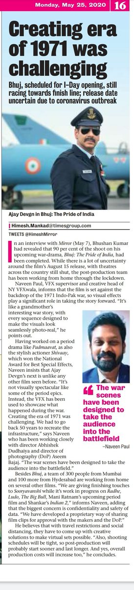National Award Winning, @pauly_vfxwaala opens up about recreating the 1971 world for #BhujThePrideOfIndia, talks about working from home in this lockdown and the future ahead for visual effects industry. @ajaydevgn #NYVFXwala
