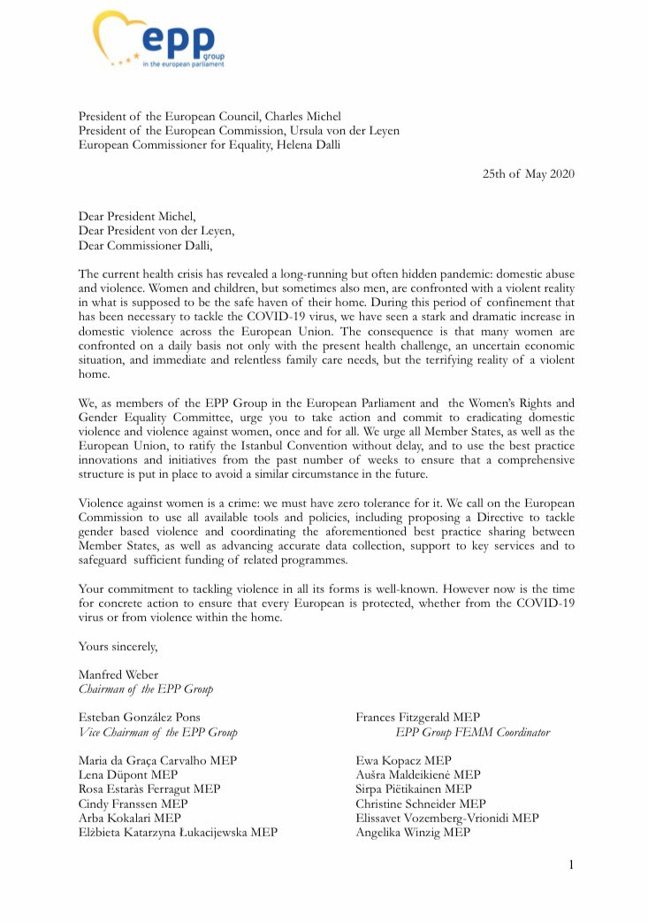 This morning, @ManfredWeber, my @EPPGroup colleagues in the Women's Rights Committee & I sent a letter to @eucopresident, @vonderleyen & @helenadalli urging action on domestic violence. #Covid_19 has highlighted the urgency: we need everyone onboard to tackle this 💪🇪🇺