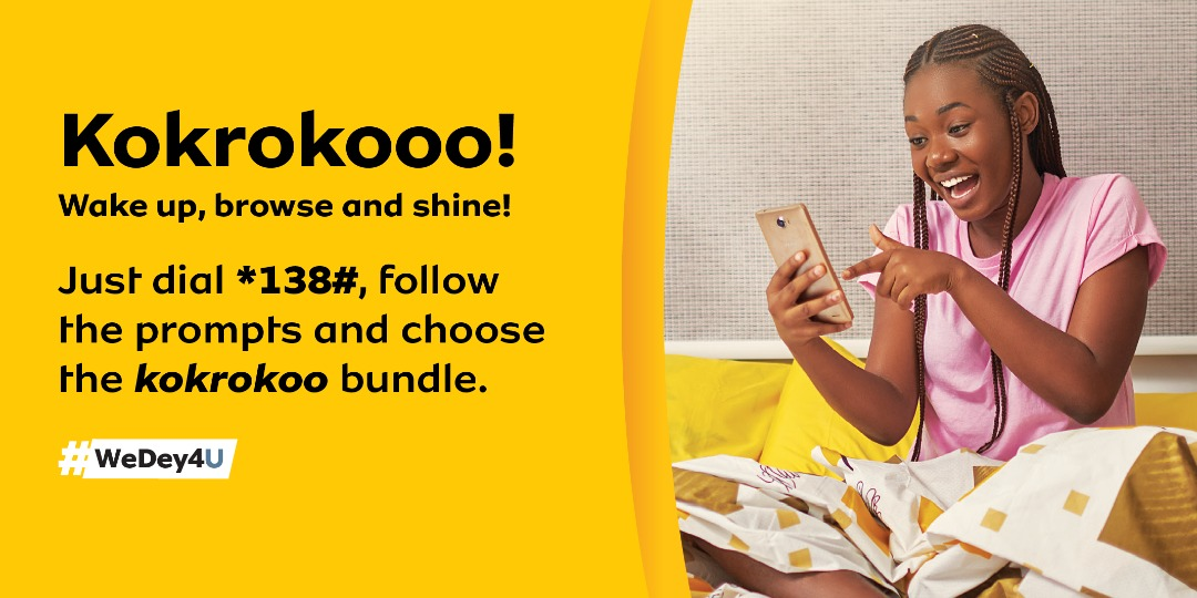 Y'ello! With just 1.085 Ghc, there's a lot you can do with MTN to brighten your day. Buy the #MTNKokrooko bundle and enjoy 400MB worth of data & 20mins free on-net calls from 5am-8am. Just dial *138# and select the Kokrooko bundle.  Anopa ay3 d3! https://t.co/p7LQmTxwvA