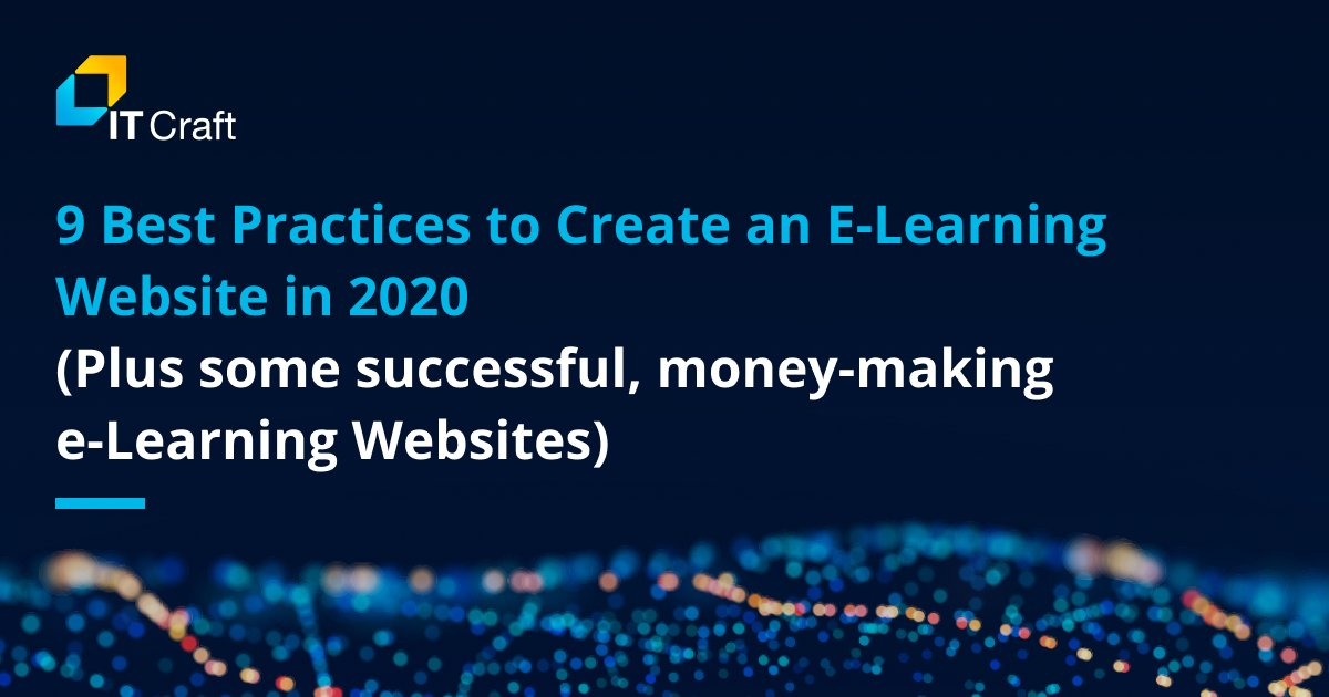 Benefit from the experience other #startups have already accumulated. Read our new article, https://itechcraft.com/blog/best-practices-to-create-an-e-learning-website-in-2020/… To learn tips for creating a perfect  e-learning  website, Remember to read the seven stunning examples of how to make a great e-learning site.#elearning pic.twitter.com/jyMBZnsO1x