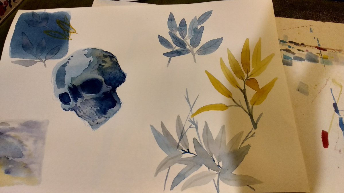 Some watercolor leaves and a random skull  #watercolorpainting #watercolor #paintingpic.twitter.com/Cy9Yv0ikLA