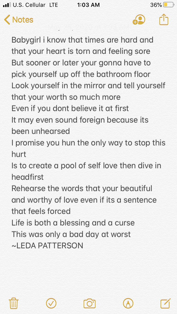 A poem I wrote to myself going thru a hard time rn but I'll be okay #poetry #poetrycommunity #WritingCommunity #writers #loveyourself #selfcare #selflove #healingpic.twitter.com/cbVMHPNmuL