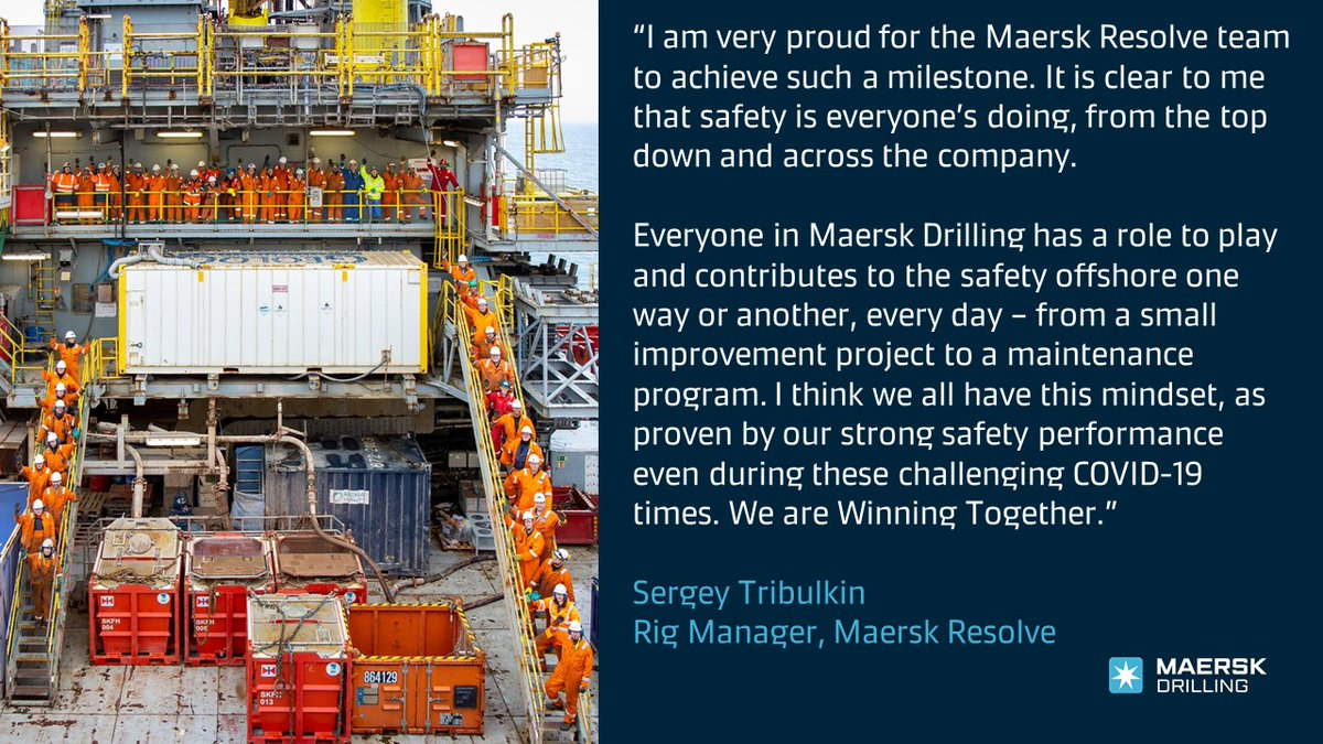 #OurPeople on #MaerskResolve could earlier this month celebrate 10 years without any Lost Time Injuries (LTIs)! Huge congratulations #TeamResolve for maintaining a great #safety culture, despite #COVID19. https://t.co/FWT8gGnQnj #MaerskDrilling https://t.co/8dSXCoIqoQ