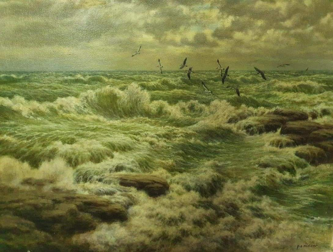 """Seabirds and Storm  signed """"P.A. Malone""""   From """"Gaslight Pantheist"""" on FBpic.twitter.com/UoFv6eZJ0U"""
