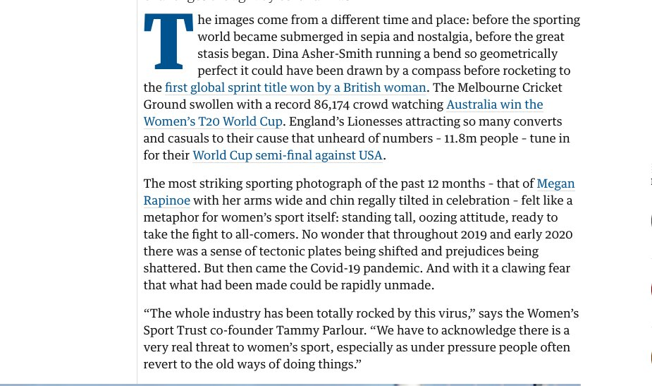 Spoke to lots of people about damage Covid-19 has caused to womens sport ... and found surprising levels of optimism. As the swimmer Alice Dearing put it This enforced break has been like driving hunger for us: it has made us more determined to succeed theguardian.com/sport/2020/may…