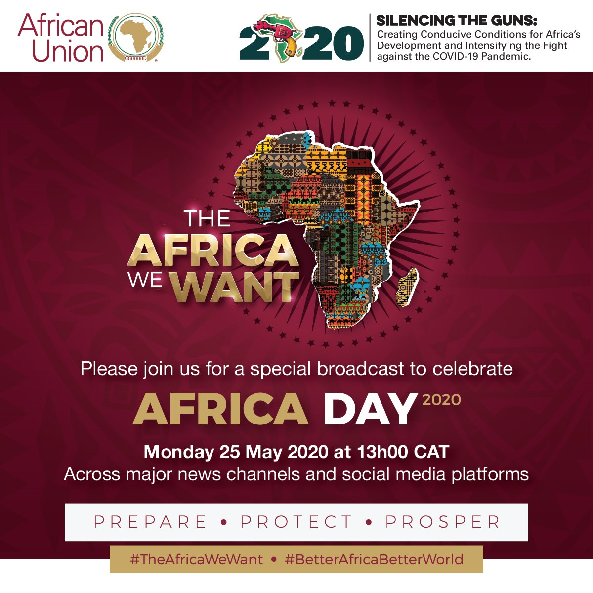 AFRICA DAY 2020 takes place under the theme: #SilencingTheGuns: Creating Conducive Conditions for Africa's Development and Intensifying the Fight against the #COVID19 Pandemic #AfricaDay  #TheAfricaWeWant #BetterAfricaBetterWorld #AfricaResponds https://t.co/IS3tSzKvgM