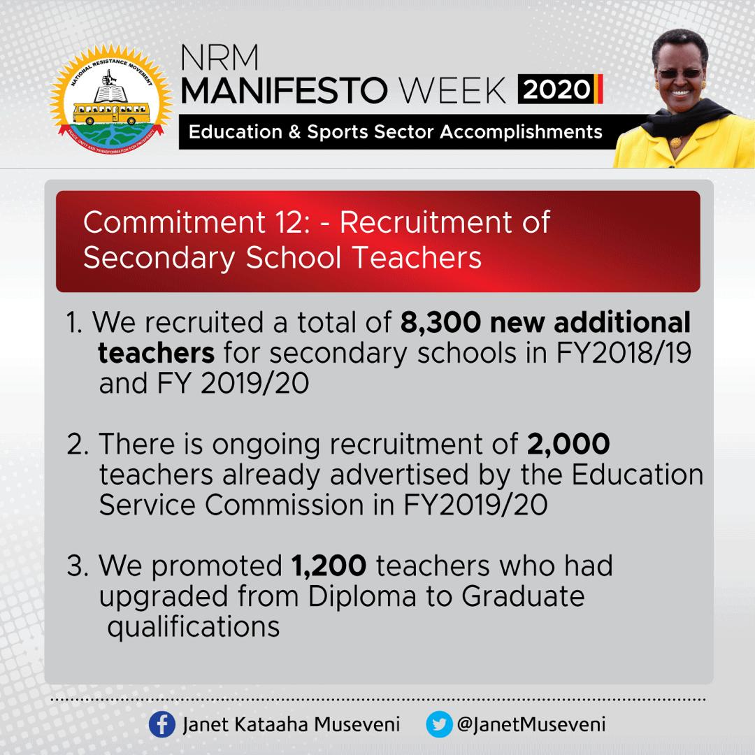 At least 8300 additional teachers were recruited in the previous Financial Yeara, over 1000 upgraded. This is in addition to a recruitment drive currently underway targeting 2000 recruitments.