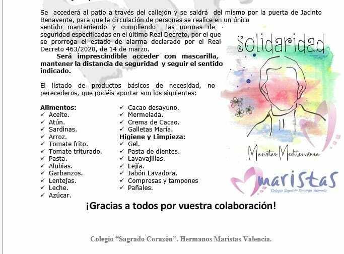 Este miércoles 27 de mayo, de 9 a 21:00, recogemos alimentos en #maristasvalencia para el banco de alimentos de la parroquia de Sta Marta. Muchas familias necesitan tu ayuda. En la imagen ampliamos la información. #SomosMediterranea @solidaridadmaristasm… https://instagr.am/p/CAmiPN9AlEp/pic.twitter.com/hcKLvSEDcZ