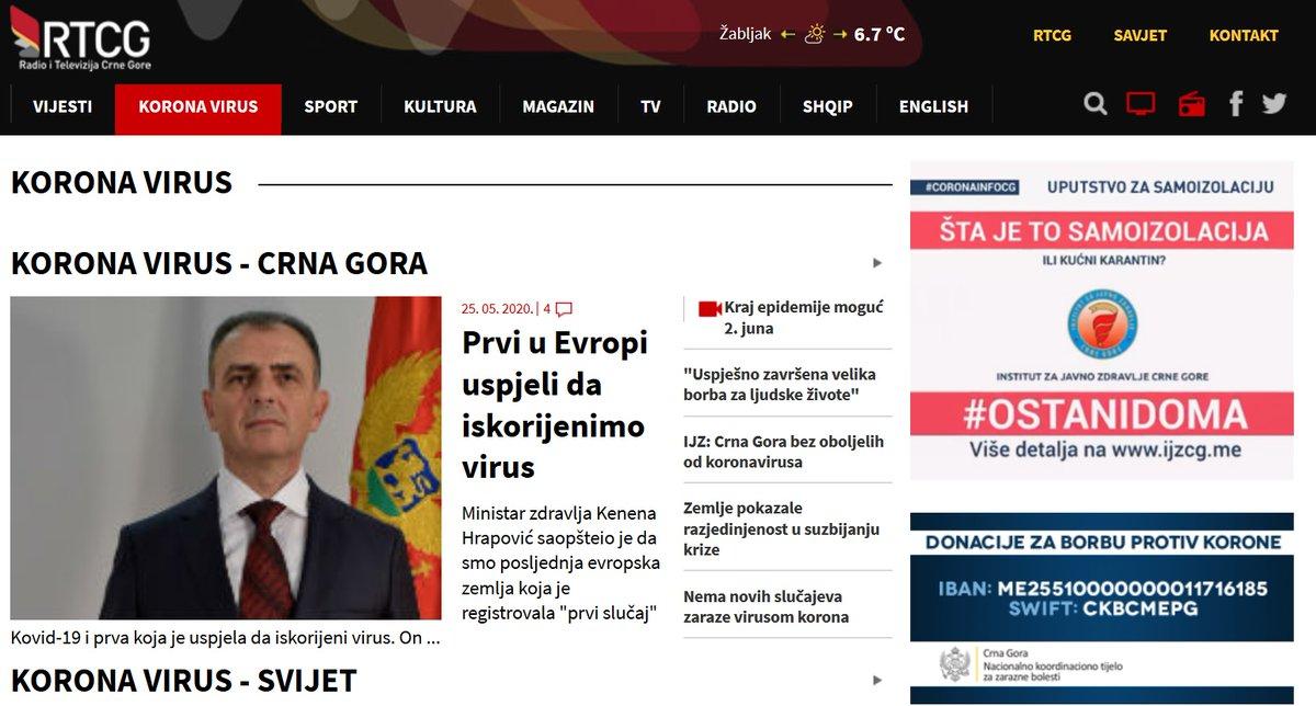 Czarnogóra jest pierwszym europejskim państwem bez aktywnych przypadków COVID-19. 324 zakażenia (516 na milion mieszkańców), 315 ozdrowień, 9 zgonów (14 na milion mieszkańców). Zrzut z @MMC_RTCG. https://t.co/UwZddzjpOE