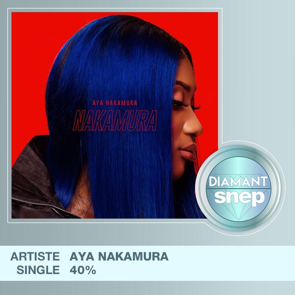 """Le titre """"40%"""" d'Aya Nakamura est certifié Single Diamant ! 💎  50 000 000 équivalents streams 🎧  Bravo ! 👏 https://t.co/jMlD6MXlDu"""