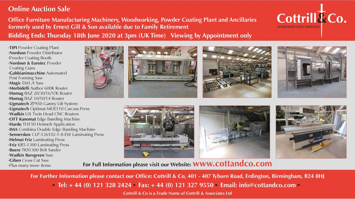 Online #Auction Sale - 18 June 2020 - Office Furniture Manufacturing Machinery, Woodworking, Powder Coating Plant & Ancillaries used by Ernest Gill & Son #UKmfg #EngineeringUK #usedmachines #ManufacturingUK #manufacturing #engineering  Link to Auction: https://www.cottandco.com/en/lots/auction/2888a---office-furniture-manufacturing-machinery-woodworking-powder-coating-plant-and-ancillaries-formerly-used-by-ernest-gill--son-available-due-to-family-retirement…pic.twitter.com/bD7aT8MAOA