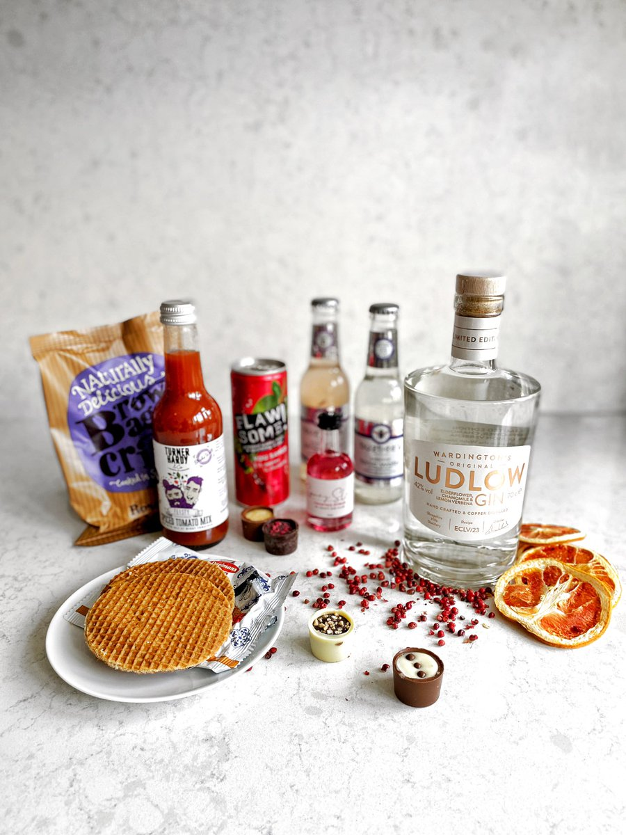 Well that's #BankHolidayMonday sorted! Huge thanks to @FoodMarketingEx and @craftginclub for this amazing array of delights! Can't wait to try the @ludlowdrygin and @BuzbeesTonics later on with the pink peppercorns and dried grapefruit!  Cheers. #gifted https://t.co/1RQhNu4TEm