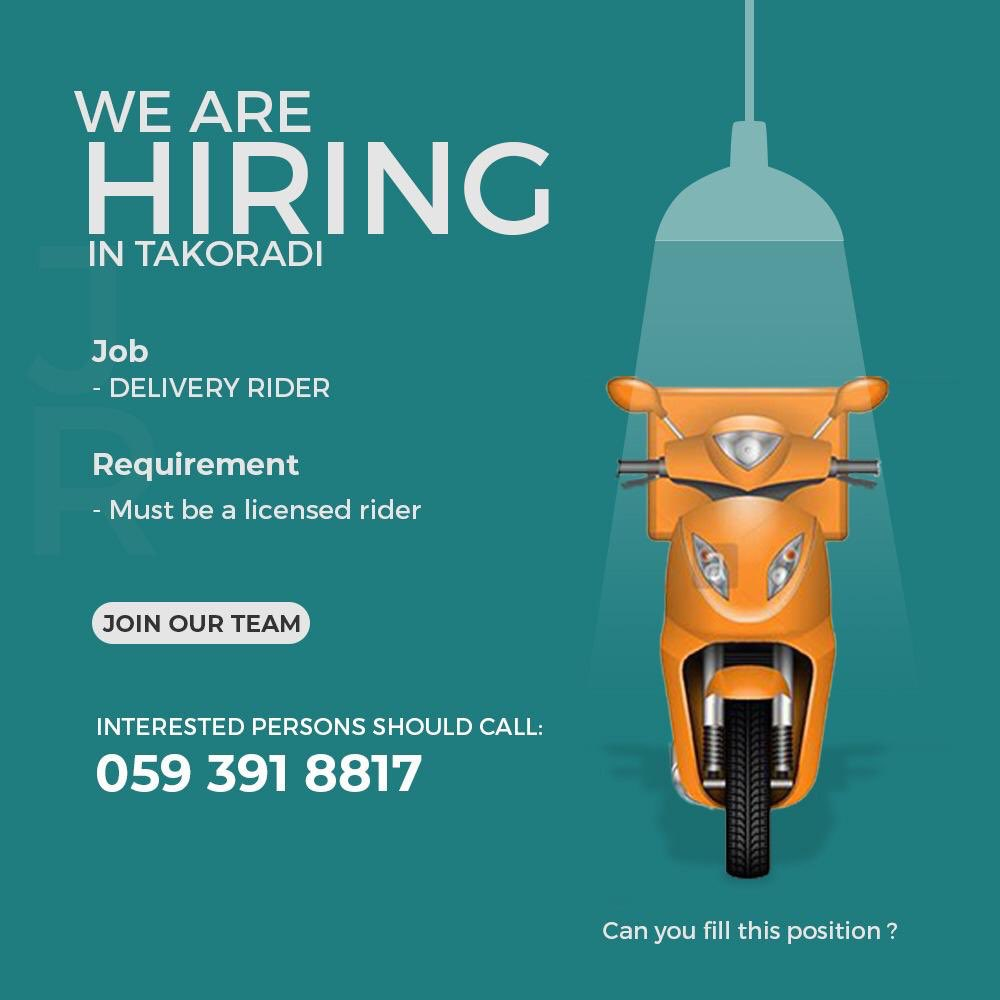 #Vacancy for #Delivery #Rider  Location - Takoradi   Kindly find attached for more information   #Vacancies #Jobs #Ghanapic.twitter.com/aqrun6idM5