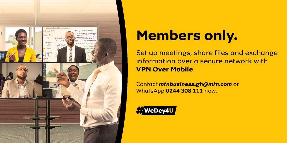 Subscribe to our VPN over Mobile service and run your business with ease. Your employees can now stay connected with each other via VPN with reliable connectivity & optimum security even if they are miles apart. Please contact mtnbusiness.gh@mtn.com or WhatsApp 0244 308 111 now! https://t.co/KYfWvS9E3p