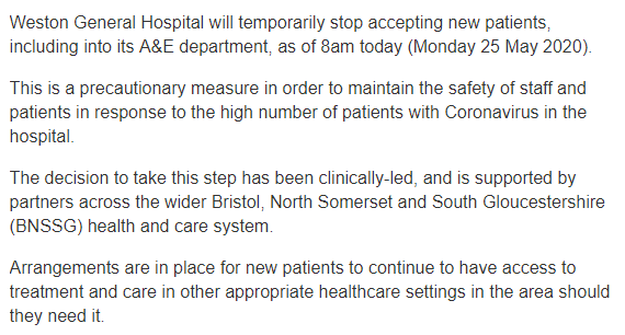 Worrying development in Weston-Super-Mare as the town's hospital closes its doors to new patients due to an increase in Covid-19 patients.   Via @rupertevelyn<br>http://pic.twitter.com/Pga5G9bhR1