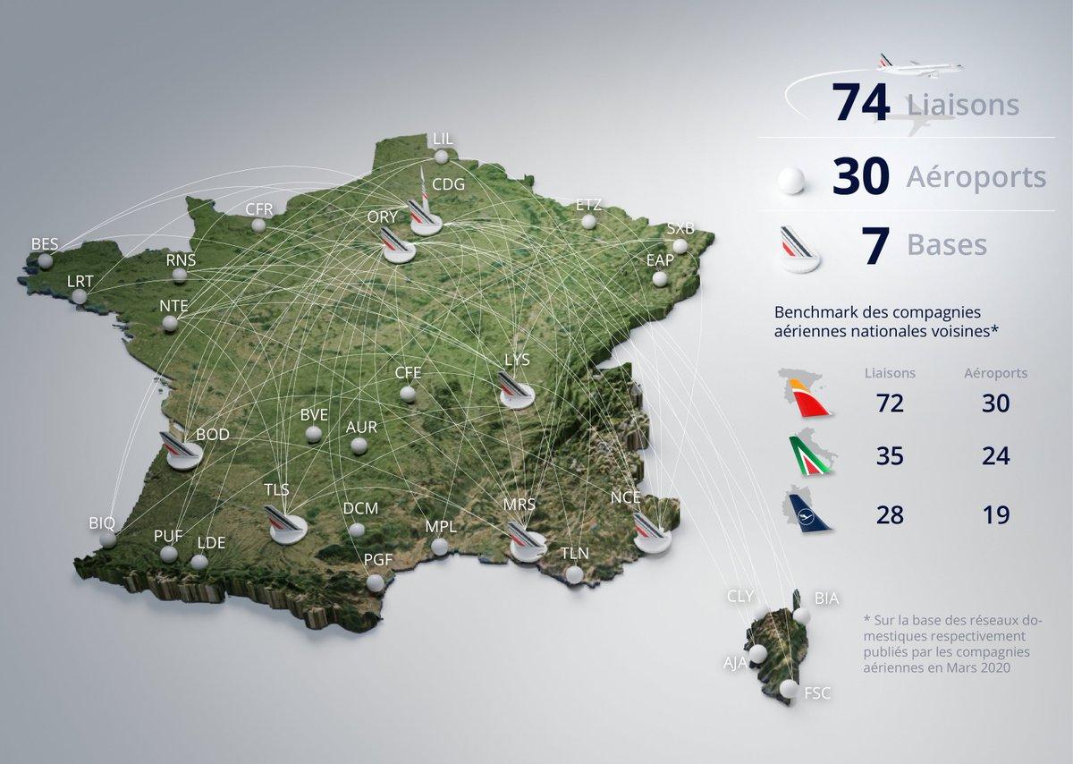 [Infographie] Quel avenir pour le réseau domestique d'@AirFranceFR ? On vous donne toutes les clés pour comprendre la reconfiguration à venir.  🇫🇷 Structure du réseau en métropole ✈️🚆 Compétitivité et concurrence ❔Quel rôle pour Hop et @transaviaFR ?  ➡️ https://t.co/uv1Oij84dN https://t.co/8DN1WwPasI