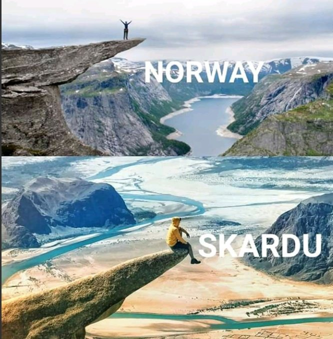 I believe every place is matchless but still  Skardu Vs Norway ❤️  #Skardu #Norway #Gilgitbaltistan #Pakistan https://t.co/D9ej9m43BZ
