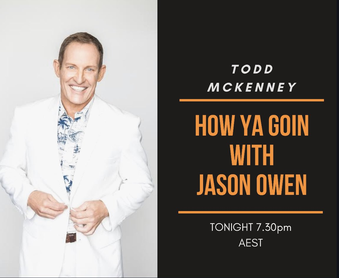 Joined by @ToddMcKenney tonight at 7.30pm 👍 #HowYaGoinWithJasonOwen https://t.co/bZYIvXpzgO