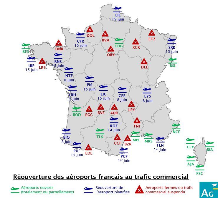 ℹ️ Réouverture de 16 aéroports français au mois de juin  Réouvertures essentiellement dues à :  🇫🇷 #AirFrance : retour à LIL, SXB, CFE, CFR, RNS, NTE, BIQ, PUF, PGF, TLN depuis ses bases de Paris et/ou Lyon 🇫🇷 #Chalair vers PIS, LRH, LIG & UIP 🇫🇷 #FlyAmelia vers RDZ  #PostCovid19 https://t.co/DjRcQBIRrY