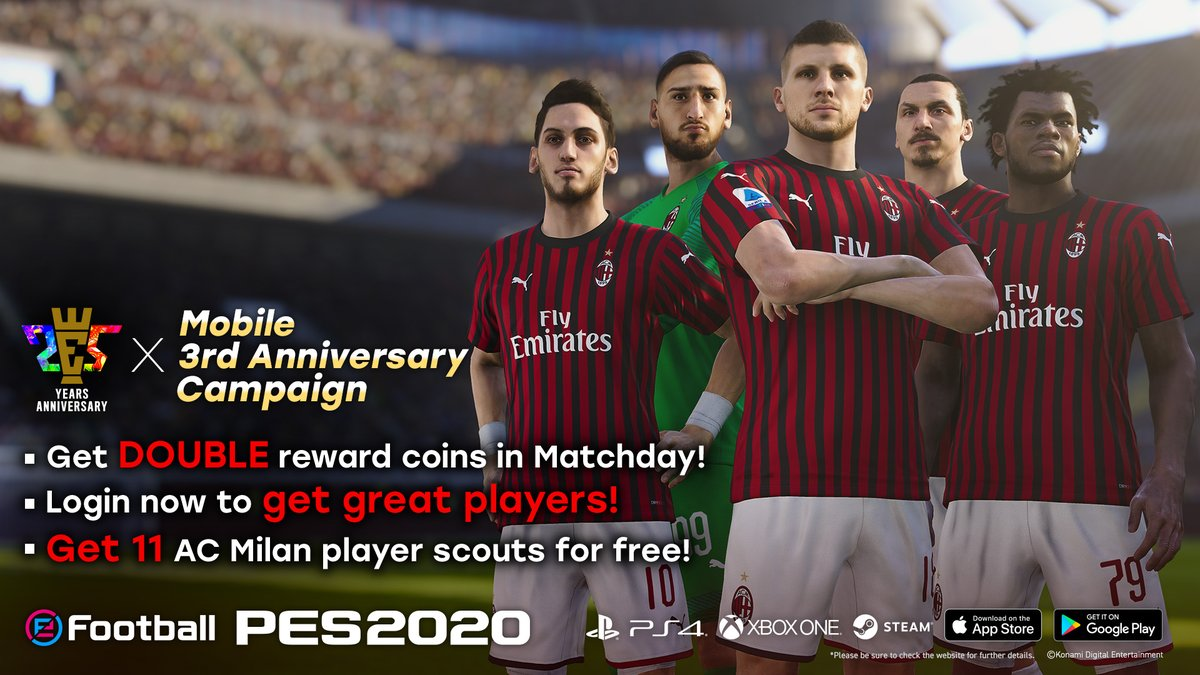 Get into #eFootballPES2020 now and join us in celebrating the 25th Anniversary of @officialpes and 3 years of PES Mobile with some great rewards and bonuses in #myClub ➡ https://t.co/bUQRxzcWbL https://t.co/jKVR2jE3xm