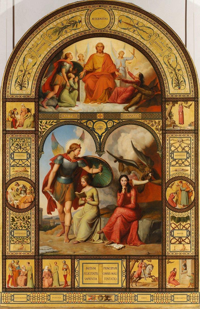 25 mai 1795 : Naissance de Victor Orsel, peintre français  1 et 2 : Allégorie du bien et du mal - Huile sur toile - Musée des Beaux Arts de Lyon 3 : La ville de Lyon sauvée du choléra - Basilique de Fourvière de Lyon - Ce tableau est une allégorie de la défaite de cette épidémie.pic.twitter.com/h6G9vTFTh4