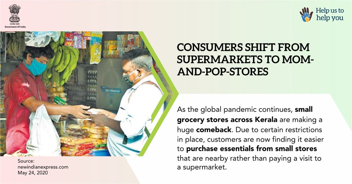 swachhbharat: In #Kerala, consumers shift from supermarkets to small grocery stores during the lockdown induced by #Covid_19.  #IndiaFightsCorona #SupplyWarriors #SwachhBharat  @PMOIndia @COVIDNewsByMIB @MIB_Indiapic.twitter.com/vnf5OnHLVG