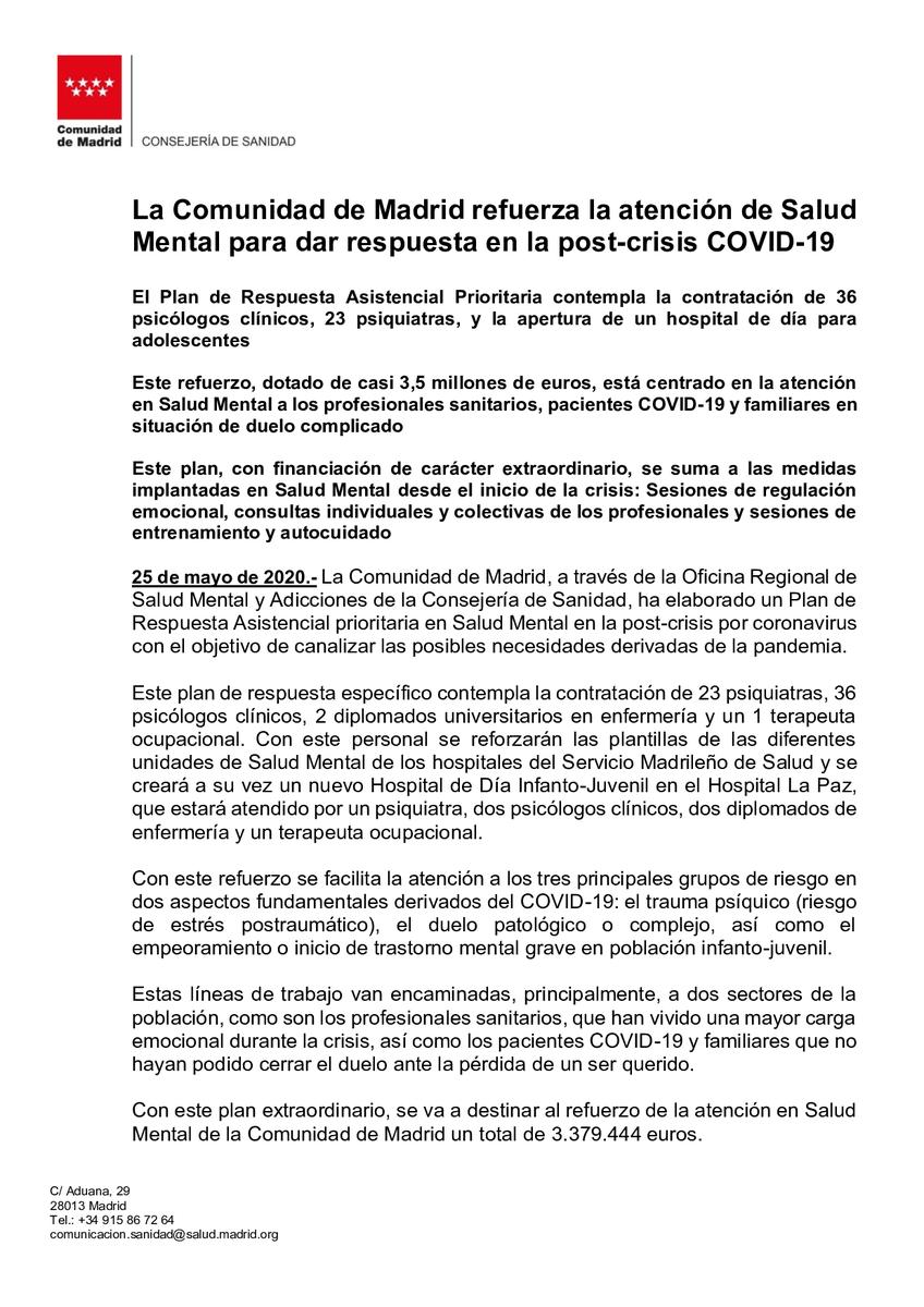 La @ComunidadMadrid refuerza la atención de Salud Mental para dar respuesta en la post-crisis #COVIDー19   #CoronavirusMadrid #coronavirusespaña #siempreconmascarilla https://t.co/nQqrl4M7g8