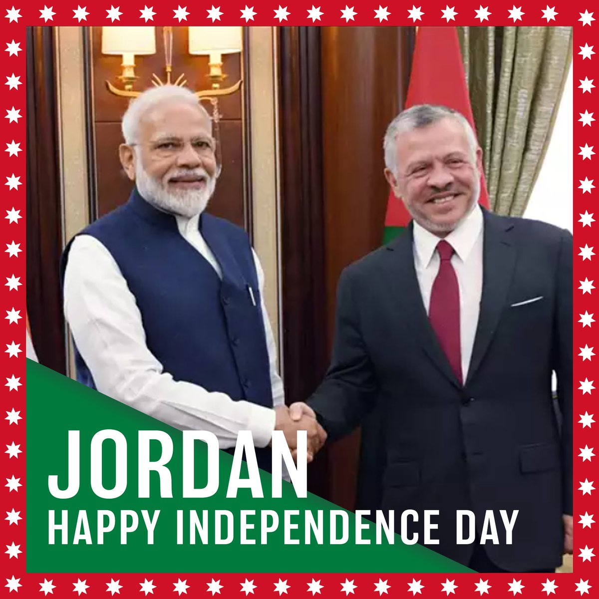 Greetings from India 🇮🇳to the people of #Jordan🇯🇴 on the occasion of their Independence Day. @IndiainJordan
