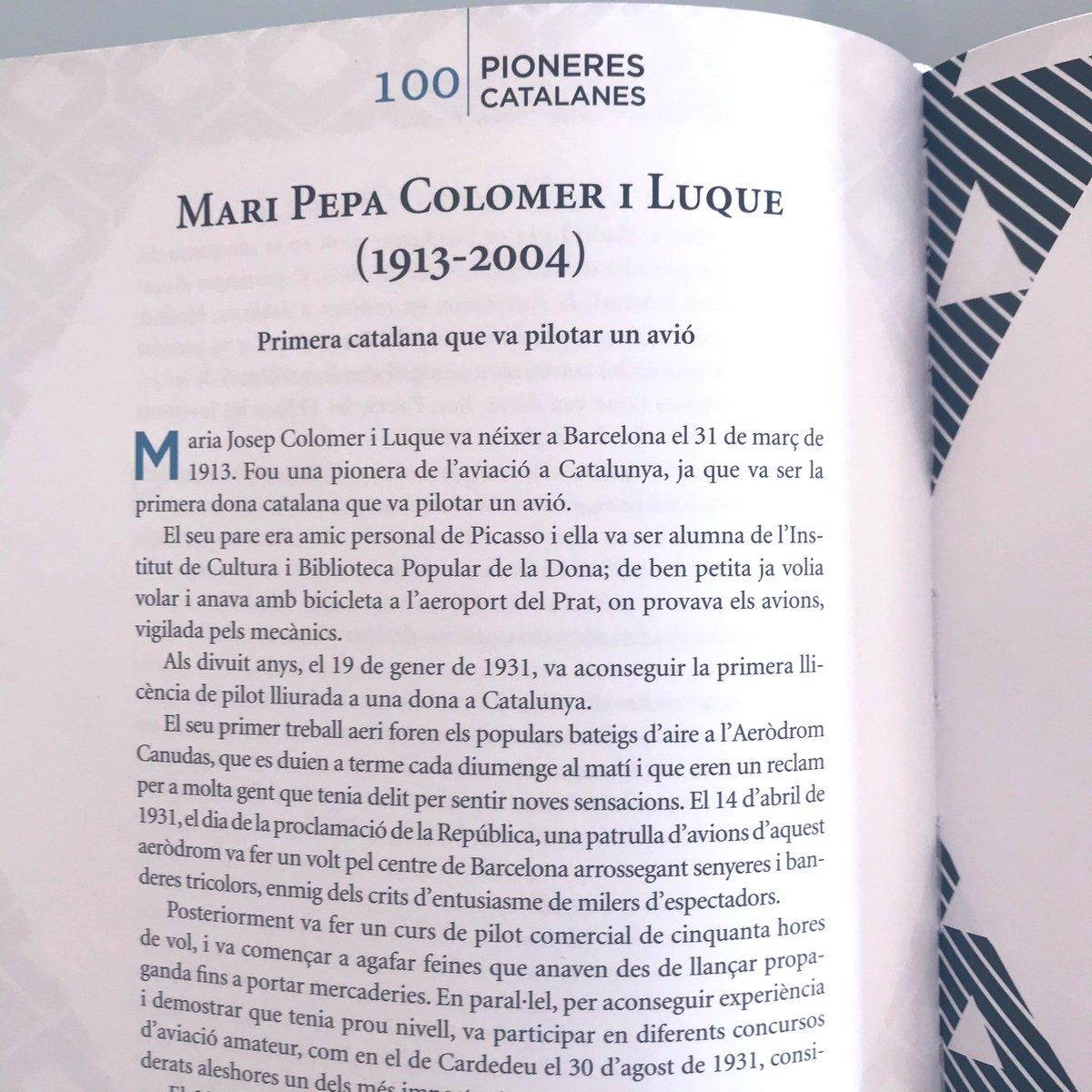 """Tal dia com aui va morir Mari Pepa Colomer, la primera catalana que va pilotar un avió.  Aquesta és una de les pioneres que trobareu a """"100 pioneres catalanes"""". ✨✈️ https://t.co/L4umMNH6Je https://t.co/MCFaNEEZwQ"""