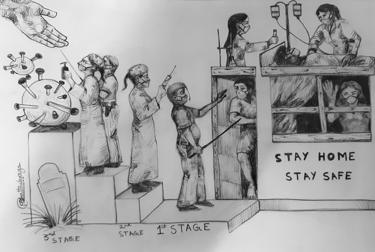 STAY HOME  STAY SAFE  (Pencil sketch by Rupam Bhattacharya). #RupamArt #Covid19 #coronavirus #pencil #Pencilsketch #Art #painting #drawing #sketch #doctor #nurse #police #lockdown #gender_dimensions_of_covid_19 #stay_home_stay_safe #rupam_bhattacharya #staysafe #stayhomepic.twitter.com/Q54OOIGYBg