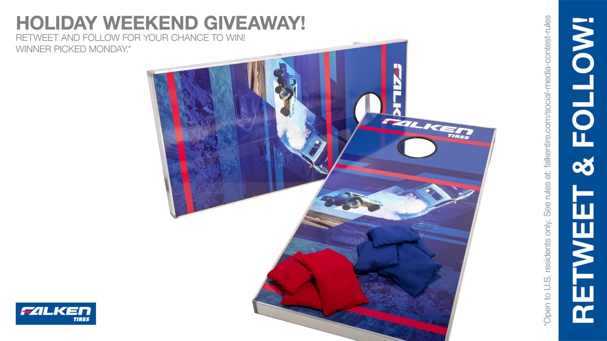 #Free holiday #weekend bean bag toss game #giveaway #contest. RT & follow #FalkenTire to enter to #win this #prize or other #swag! Rules: http://bit.ly/2grA0A4 pic.twitter.com/T3uSKySLvl