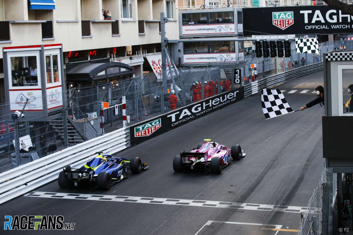 Great Monaco performances by two sadly missed drivers #OTD in racing history.  One year ago, @AnthoineH won the @FIA_F2 Monaco sprint race ahead of @LouisDeletraz.  Six years ago, @Jules_Bianchi scored @ManorRacing's first @F1 points with ninth place in the #MonacoGP.  #F1 #F2 https://t.co/i1atgDEYJk