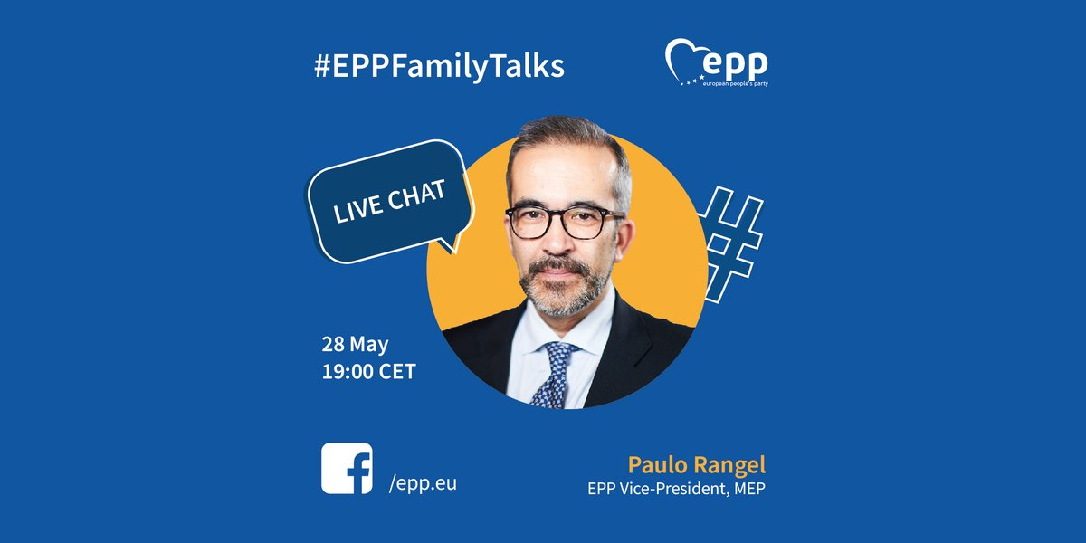 🔵 Join our live interview with EPP Vice President & MEP @PauloRangel_pt over on our Facebook page this evening! 📅 When: Today, 28 May ⏰ Time: 19:00 CET 📲Where: facebook.com/epp.eu #EPPFamilyTalks