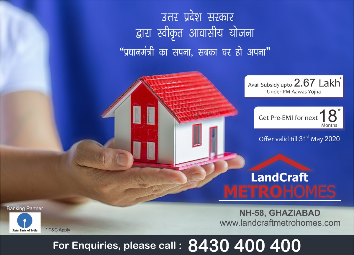 Get 2BHK & 3BHK Flats in NH-58 Ghaziabad at affordable price under PM Awaas Yojna & Get Pre-EMI For Next 18 Months. Book your flat today ! Call - 8430 400 400 for enquiry. #PMAY | #UttarPradesh | #IndiaFightsCorona pic.twitter.com/9M3TV0FqcY
