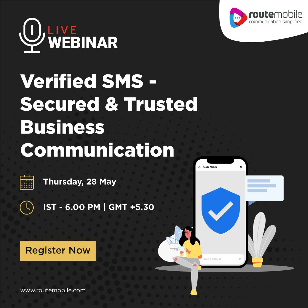 Join us and explore everything about the new #VerifiedSMS solution that will help your business send safe and trustworthy messages. Click here to register -  https:// us02web.zoom.us/webinar/regist er/4015901442414/WN_iOEFFzhPTYyoAgV38V_Bmg   …   #RMLWebinars #RouteItRight #Verification #BrandedSMS #Trustworthy #CPaaS #UnifiedAPI #Omnichannel<br>http://pic.twitter.com/nyNatytQaK
