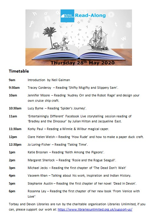 We are very very excited to announce the timetable for our Torbay Libraries Read-Along! this Thursday, 28th May! A very special introduction kindly recorded by @neilhimself starts us off, and we would like to say a huge thank you to all of the authors who will be taking part.
