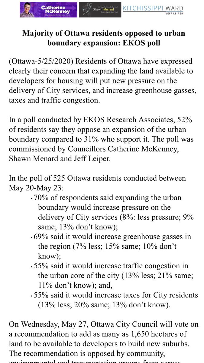 In case you were wondering, the majority of residents in #Ottawa do NOT support expanding the urban boundary. New Ekos Research Poll out today #holdtheline #askyourcouncillor #Ottnews #Ottcity #sprawlpic.twitter.com/tDyRck7KqX