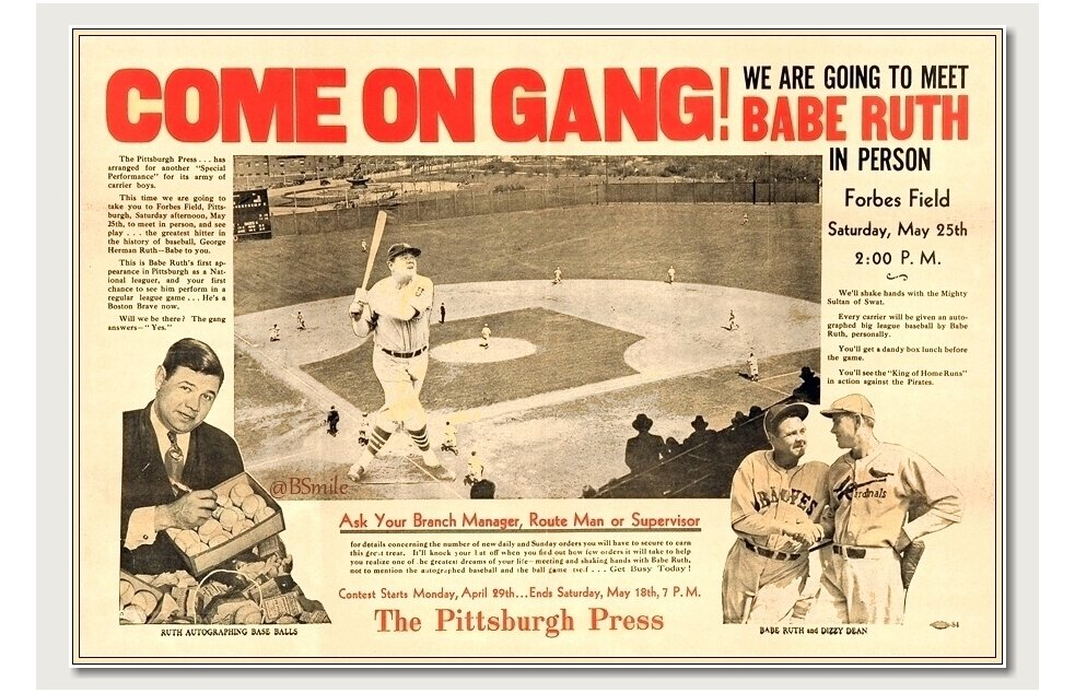 """Come On Gang! We Are Going To Meet Babe Ruth In Person"" (Forbes Field, Pittsburgh - May 25, 1935) #MLB #Baseball #History https://t.co/a6svP3KXPY"