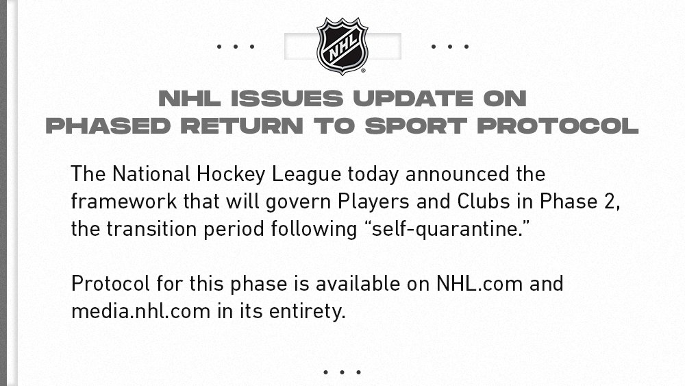 NHL issues update on Phased Return to Sport Protocol: bit.ly/3ehSgnu