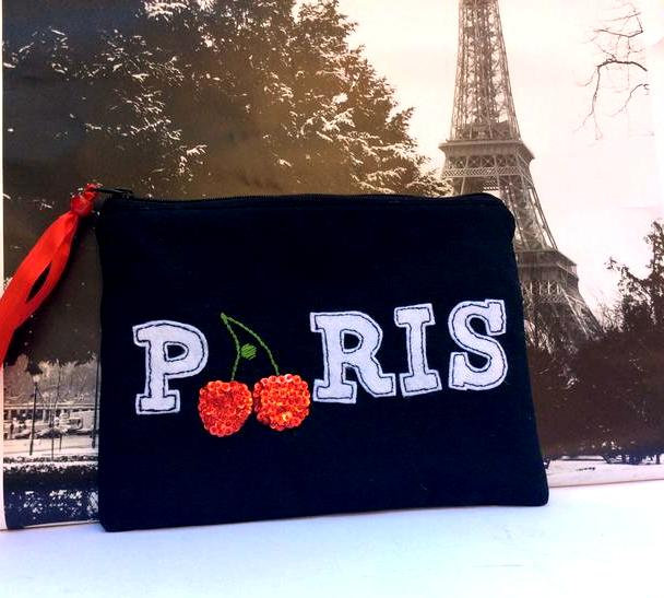 Excited to share the latest addition to my #etsy shop: Black cotton pouch handmade, hand embroidered with beaded cheries and PARIS lettering  #mothersday #white #red #smallpurse #handmadepouch #cosmeticscase #carryallpouch #accessoriespouch #uniq