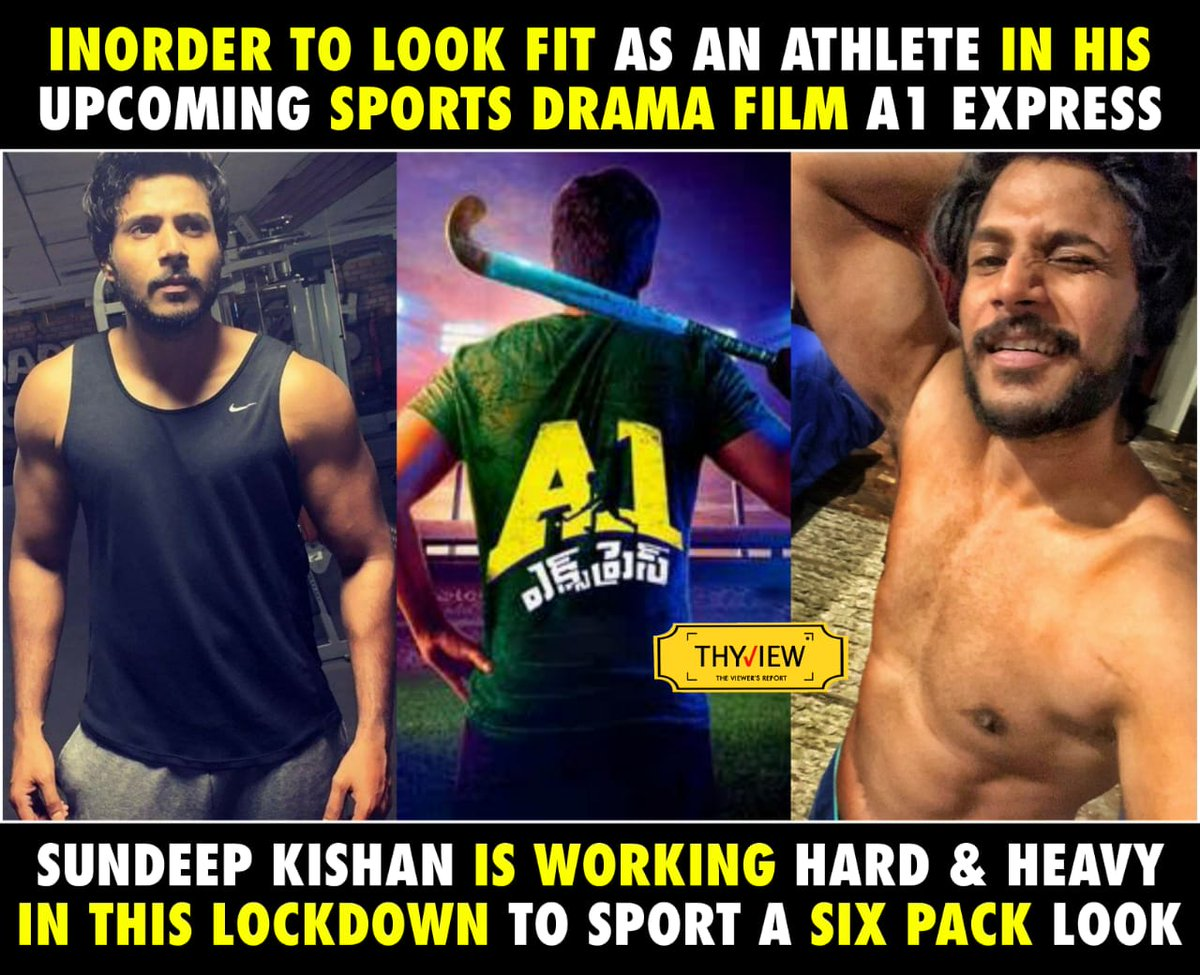 Inorder to look Fit as an ATHLETE in His Upcoming SPORTS DRAMA Film #A1Express  @sundeepkishan is Working Hard & Heavy in this Lockdown  To Sport a SIX PACK Lookpic.twitter.com/T7564baGZh