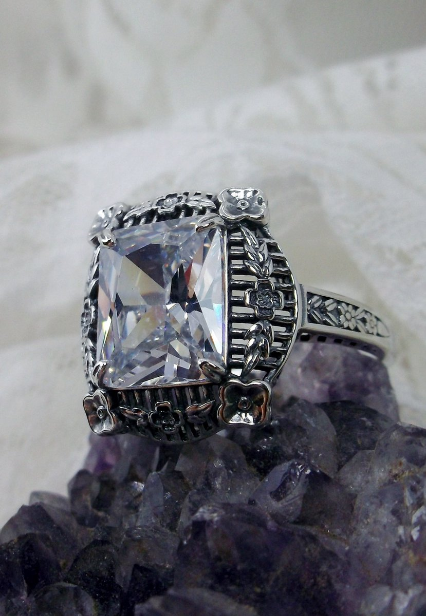 Excited to share the latest addition to my #etsy shop: 5ct Rectangle White CZ Sterling Silver Victorian Floral Filigree Ring {Made To Order} Design#227  #silver #rectangle #floral #no #cubiczirconia #white #unisexadults #victorian #filigree