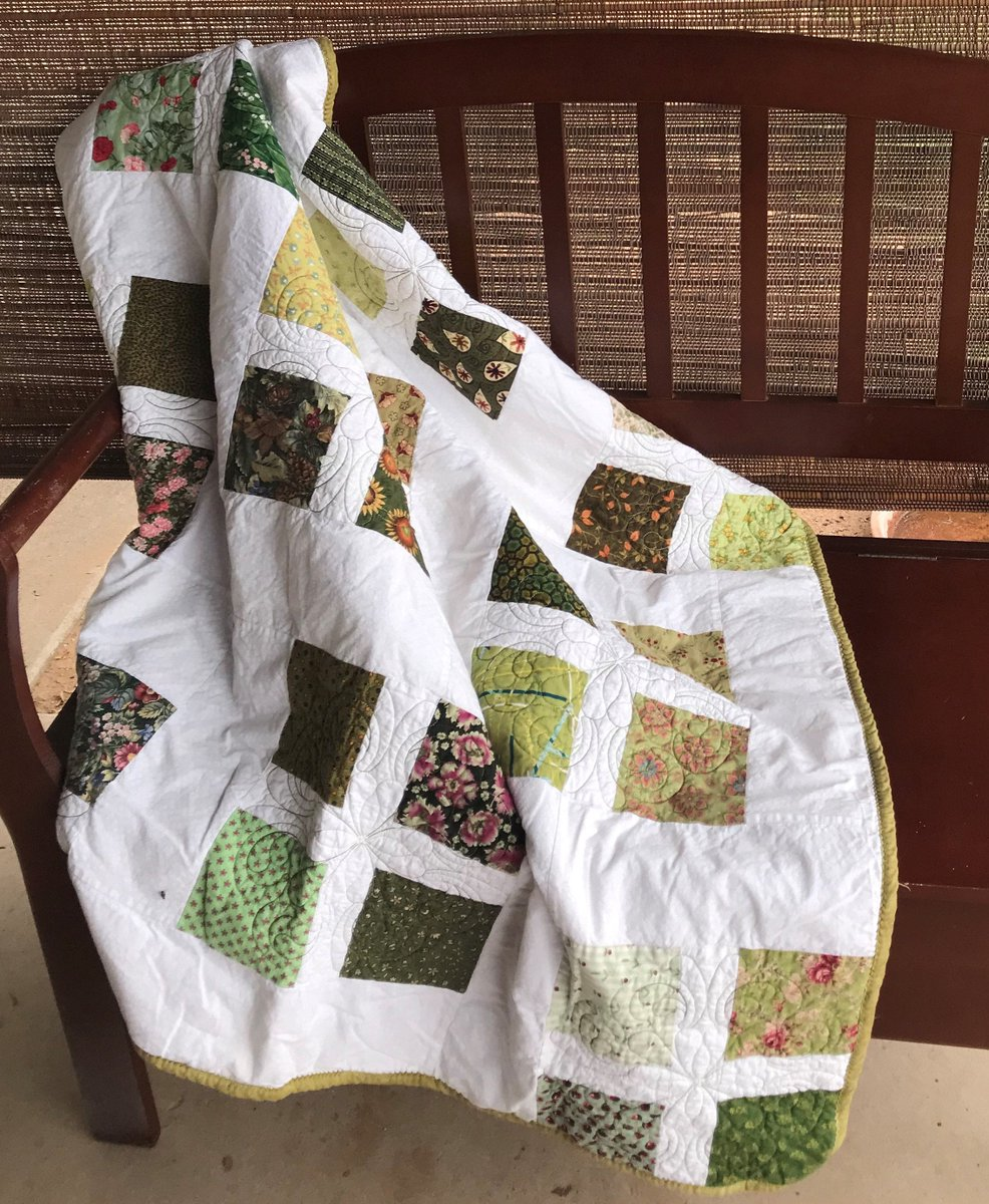 Excited to share in my #etsy shop: Spring Green through the Snow 43 x 43 Lap Quilt, Throw  #green #white #patchwork #kid #no #cotton #quilt #quilting #throw