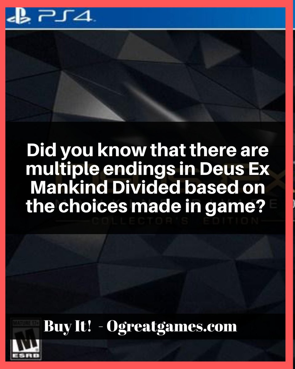 Did you know that there are multiple endings in Deus Ex Mankind Divided based on the choices made in game?  #playstation4 #games #facts #question #gamers