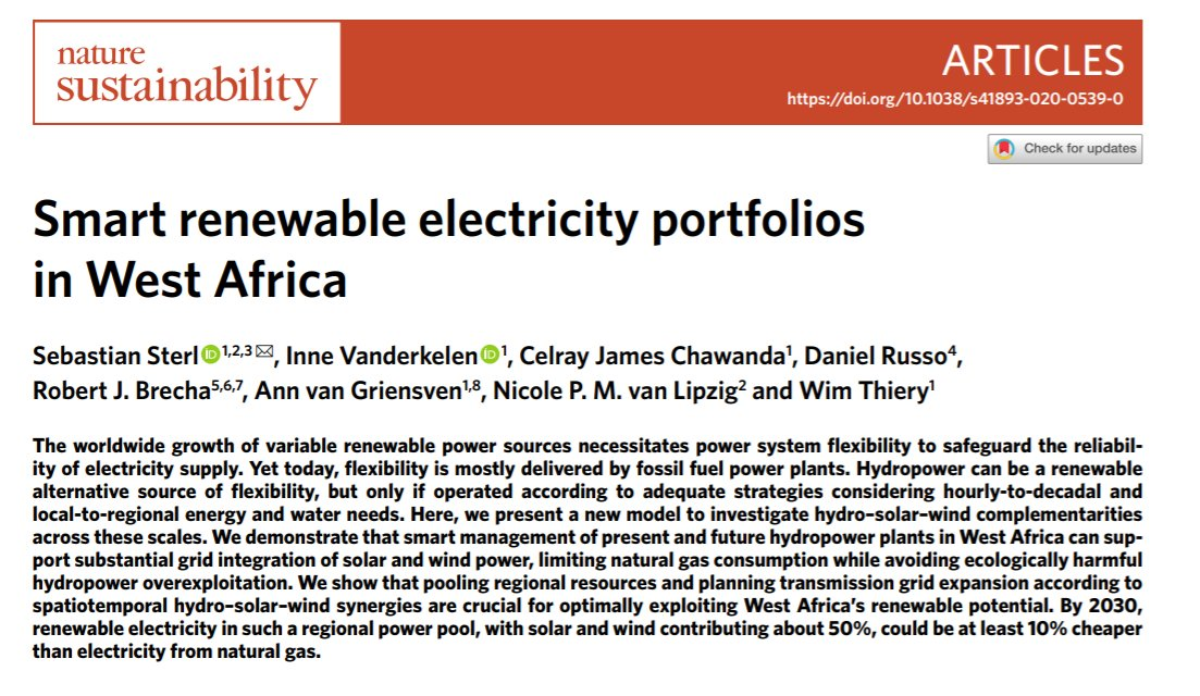 (1/7) New @naturesustainab paper (go.nature.com/2XrtJFP) explores synergetic #hydro, #solarPV & #wind power planning in #WestAfrica w/ detail from individual plants to regional power pool, hourly dispatch to decadal trends | @VUBrussel @KU_Leuven @ZEFbonn @IRENA @CA_Latest 👇