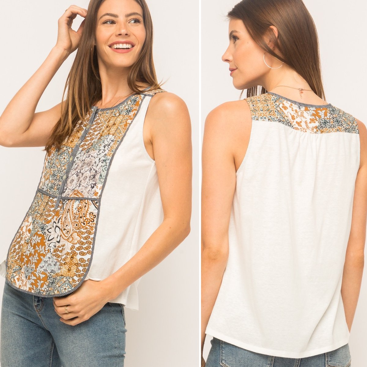 Summer style at its best - a simple tank with fabulous details!  Order here  w/free shipping. #allinspired #wherestylemeetsgrace #tops #summerstyle #casualstyle #everydaystyle #fashion #fashionista #boutiqueshopping #shoplocal #shopsmall