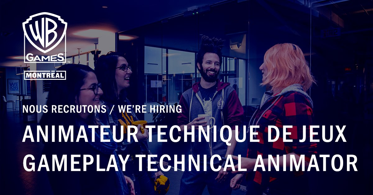 Hot job de la semaine 🔥: Animateur technique de jeux Rejoignez-nous! https://t.co/keodYgTJxy  💼  Weekly Hot Job 🔥: Gameplay technical animator Join us! https://t.co/keodYgTJxy https://t.co/4AFdY41bJc