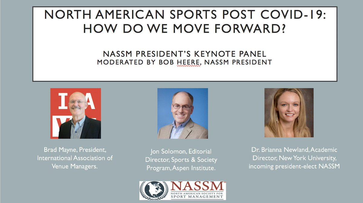 Join @NASSM Friday 29th, 11am EST for keynote panel on COVID-19 effects on sports industry. Thank you @IAVMWHQ and @AspenInstSports for participating  https://t.co/IXGKdvvCLG https://t.co/1fQTawmvI7