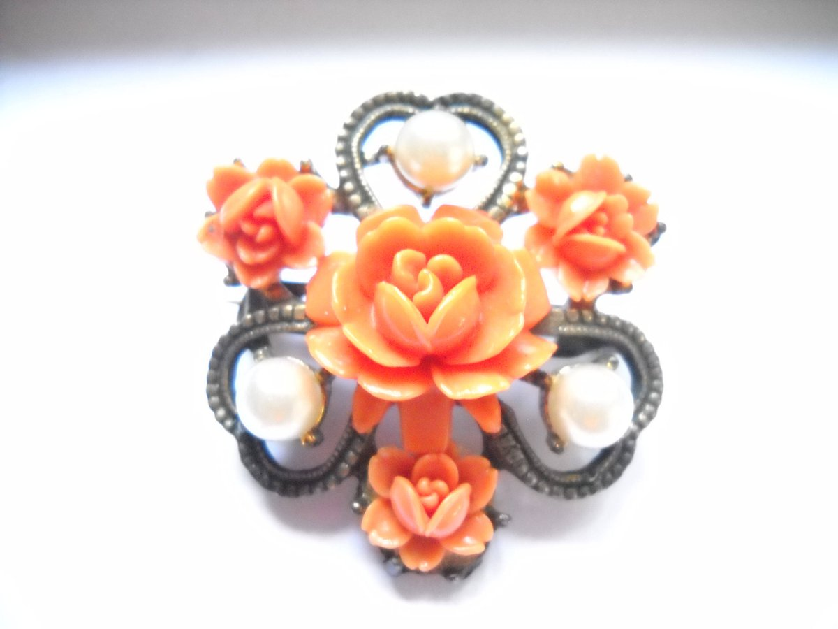 Excited to share the latest addition to my #etsy shop: Brooch Victorian Revival Faux Coral Carved Roses Plastic Faux Pearls Clover Flower Metal Brooch Victorian Edwardian Revival  #orange #birthday #christmas #plantstrees #white #unisexadults #no