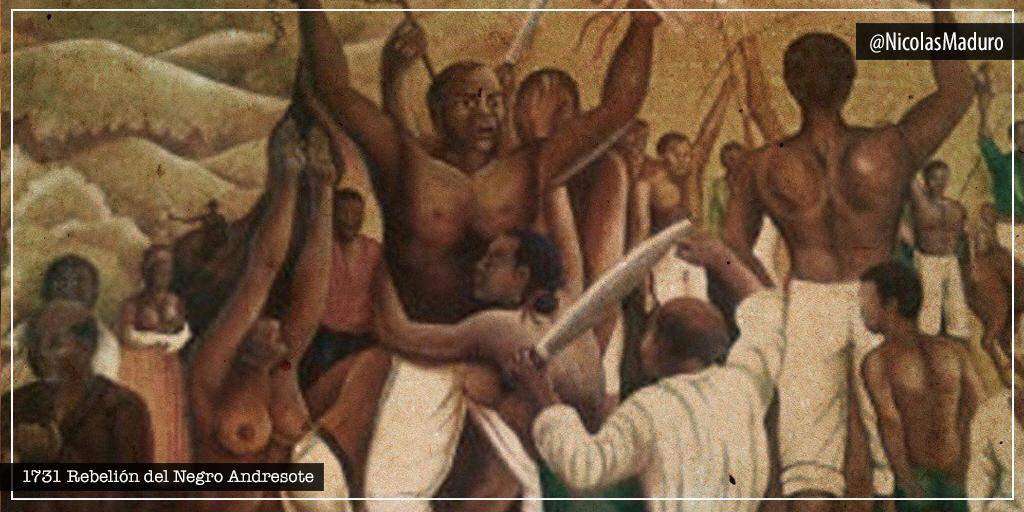 """Hace 289 años el río Yaracuy fue testigo de la fuerza y resistencia presente en nuestros ancestros, con la rebelión de """"Andresote"""" en contra del poder económico del imperio español. Somos las y los herederos del zambo Juan Andrés del Rosario, rebeldes ante la injusticia."""